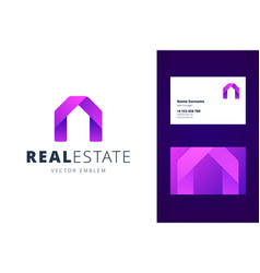 real estate logo template with business card vector image vector image