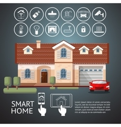 Smart home infographic with facade house and icons vector image