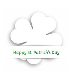 white cut out four leaf clover attached in the vector image vector image