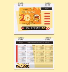 2020 desk calendar template and cute rat vector