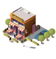 3d isometric cafeteria restaurant with vector image