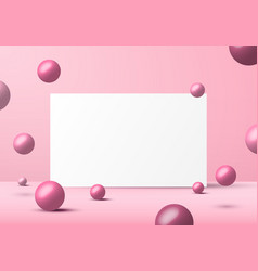 3d realistic pink balls spheres shapes with white vector image