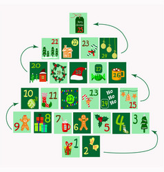 Advent calendar in form a tree for vector