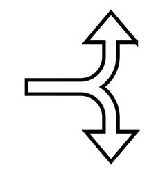 Bifurcation Arrow Up Down Contour Icon vector