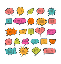 Big set of comic bubbles with short messages hand vector