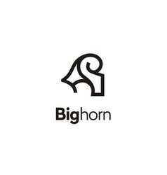 Bighorn ram goat horn sheep aries logo vector