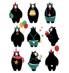 birthday set with cute bear vector image