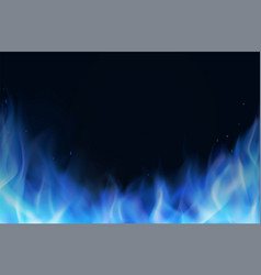 blue fire flame realistic background vector image
