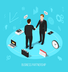 business partnership isometric background vector image