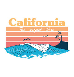 california wave print vector image