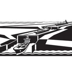 Cargo ships pass canal vector