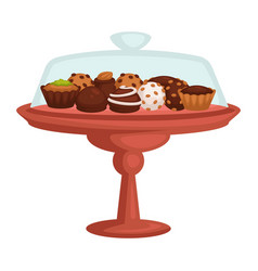 chocolate cake and cupcake cookie and candy on vector image