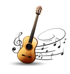 Classic guitar with music notes in background vector