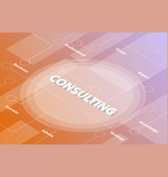 Consulting or consultation words isometric 3d vector