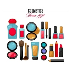 Cosmetic tools beauty products Facial Makeup vector image
