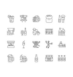 craft beer pub line icons signs set vector image