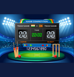 cricket scoreboard background vector image