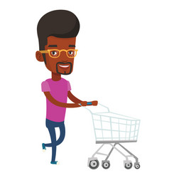 Customer running with shopping trolley vector
