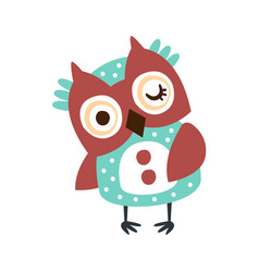 Cute cartoon owl bird winking colorful character vector