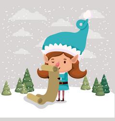 cute girl santa helper with gifts list vector image
