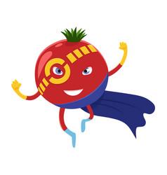 Cute happy tomato superhero cartoon character a vector