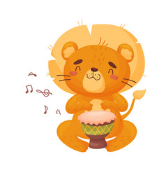 Cute lion with djembe on vector