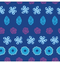 Dark blue field flowers stripes seamless pattern vector image