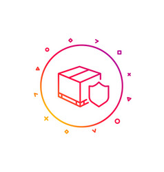 Delivery insurance line icon parcels tracking vector