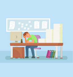 depressed office worker flat style design vector image