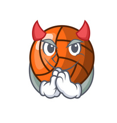 Devil volleyball mascot cartoon style vector