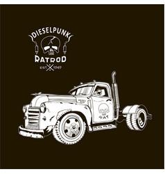 Diesel truck ratrod dieselpunk 2x4 white on black vector