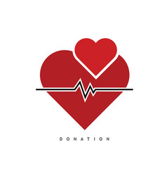 Donation with heart and heartbeat color vector