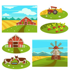 Farm household or farmer agriculture flat vector