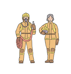 fireman woman and man in professional protective vector image