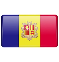 Flags Andorra in the form of a magnet on vector