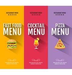 Flat fast food menu typography design vector