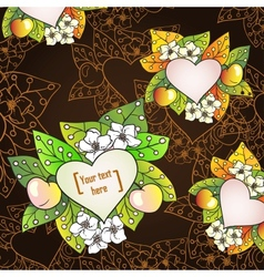 Floral decorative background with apples Template vector
