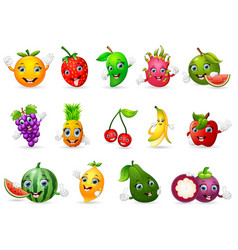 Funny various cartoon fruits vector
