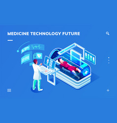 futuristic medicine diagnostic room with doctor vector image
