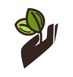 Gardening eco environment icon of hand and vector