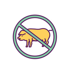 Giving up meat rgb color icon vector