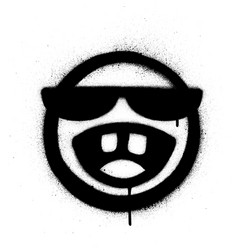 Graffiti sprayed icon with sunglasses laughing vector
