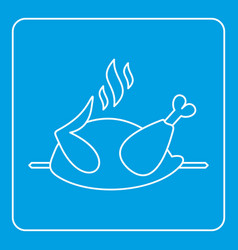 Grilled chicken on a grill icon outline vector