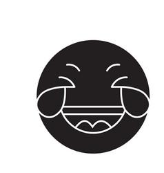grinning emoji wit h face black concept vector image