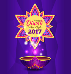 happy diwali promo poster text vector image