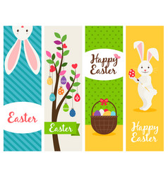 Happy easter banners vector