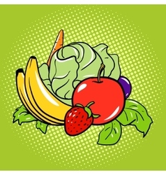 Healthy food vegetarian comic book style vector