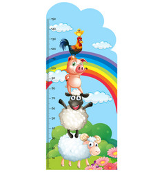 Height measurement chart with farm animals in vector
