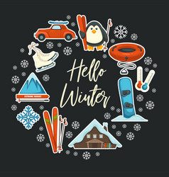 hello winter greeting card seasonal sport and vector image