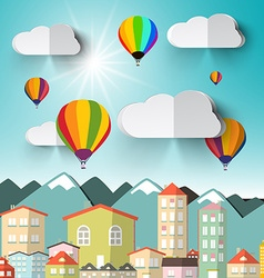 Hot Air Balloons on Sky with City and Mountains vector